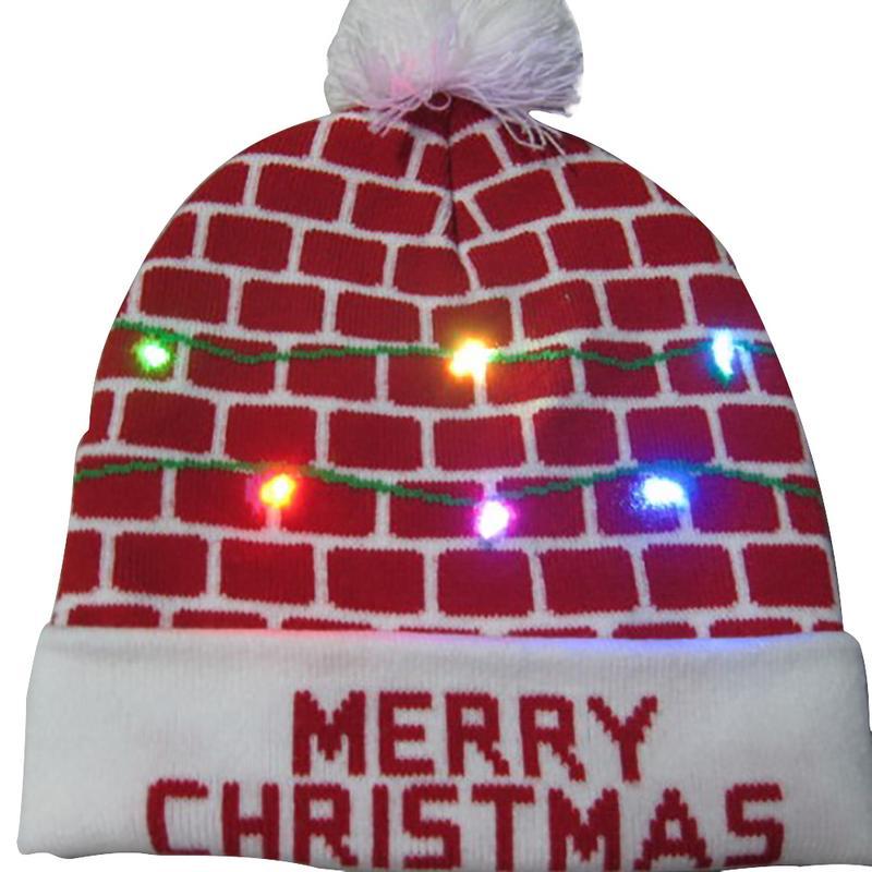 Г., 43 дизайна, светодиодный Рождественский головной убор, Шапка-бини, Рождественский Санта-светильник, вязаная шапка для детей и взрослых, для рождественской вечеринки - Цвет: 01