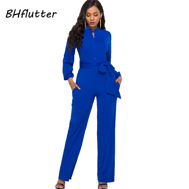 BHflutter Jumpsuit Women Romper 2018 New Style Buttons Casual Overalls Long Sleeve Autumn Winter Jumpsuits Full Pants Plus Size 3