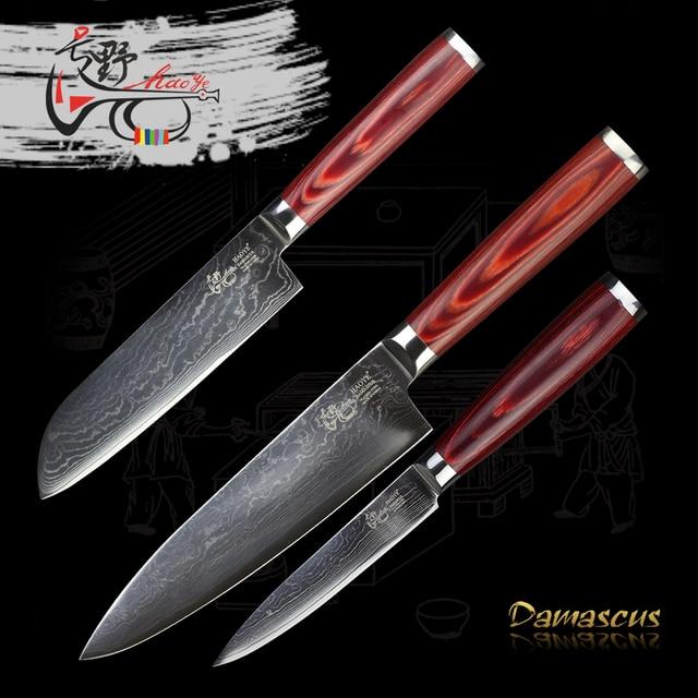 Red Kitchen Knife Set Cutting Table Haoye Damascus 3 Pcs Japanese Chef Santoku Utility Sharp High Quality