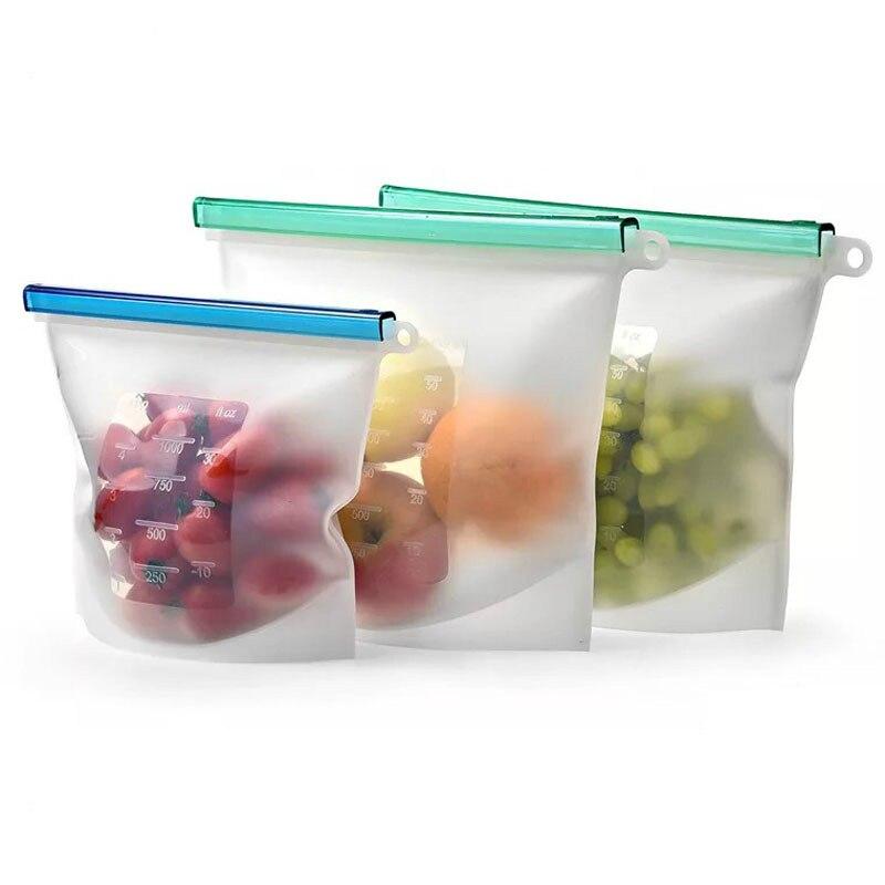 O vácuo ziploc do fechamento do fecho de correr cobre recipientes para a carne, legumes, bebidas saco de armazenamento ziplock do alimento do silicone reusável