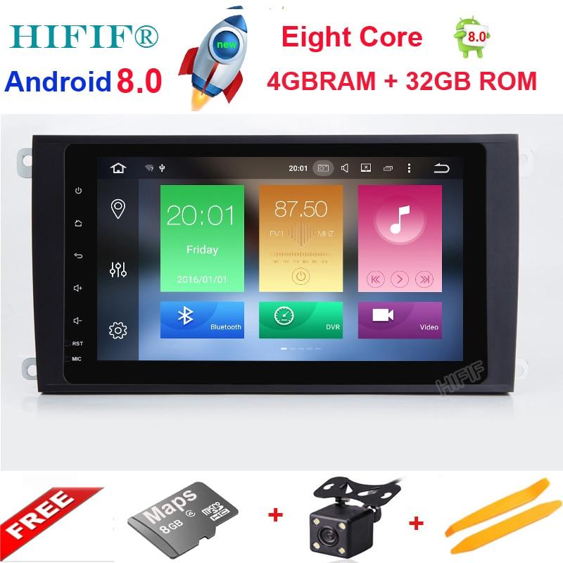 IPS Android 8.0 8 Core 8 pouces lecteur de voiture pour Porsche Cayenne 2003 2004 2005 2006 2007 2008 2009 2010 autoradio GPS Navigation