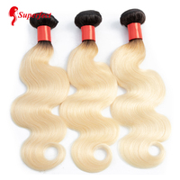 1B/613 Peruvian Body Wave Human Hair Bundle 1/3/4 Pcs Two Tone Ombre Blonde Hair Weave Non Remy Hair Weft Free Shipping