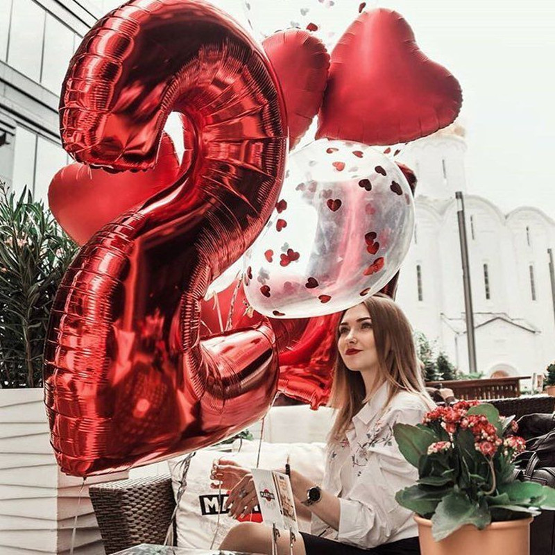 16Inch Rose Gold Silver Red Pink Number Balloon Aluminum Foil Letter Balloon Wedding Birthday Party Decor Happy Birthday Balloon