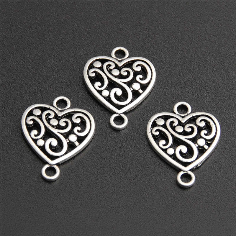 40pcs Zinc Alloy Heart Shape With Flower Connector Charms Diy Jewelry Findings Accessories Wholesale A2744