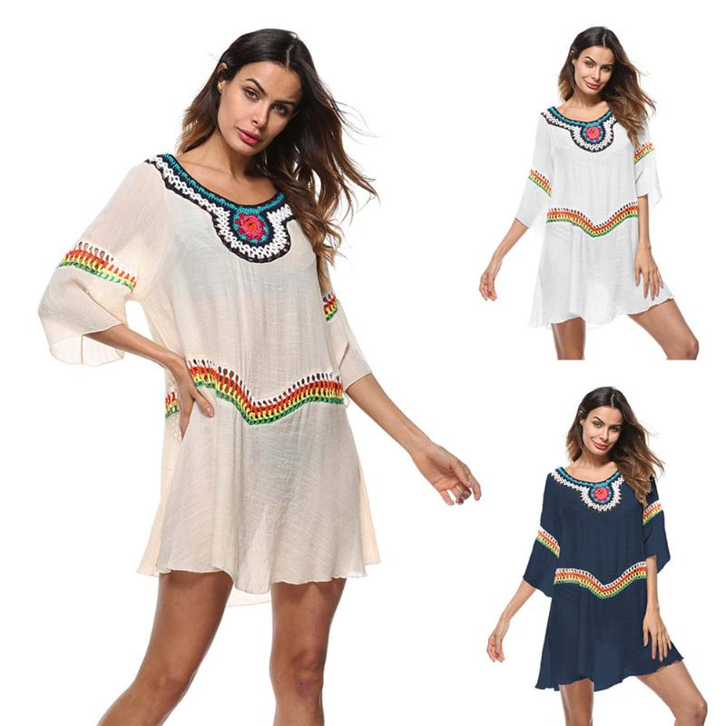 цена на 2018 Women Sexy Flounce Fringe Cover Up Tunic Tassel Beach Cover Up Swimwear Summer Bikini Cover Up Swim Beach Dress
