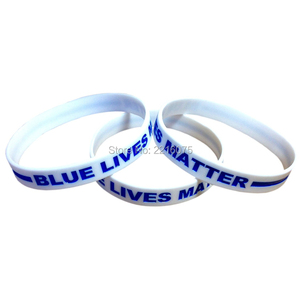 Image 2 - 300pcs White Black Blue Lives Matter Thin Blue Line wristband silicone bracelets free shipping by DHL express