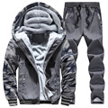 New Winter Mens Sweat Suits Brand Mens Tracksuit Sets Fleece Zipper Hooded Jacket + Pants Sporting Suit Camouflage Sleeve Hoody