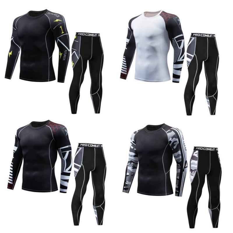 Tracksuit Men Compression Sweat Quick Drying Sets Fitness Men's Wear Thermal Bodybuilding Shapers