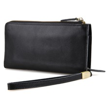 Tanned Leather Wallet Black Clutch Bag Men's Storage Credit Card Holder ID Card Case With Phone Case 8048A-1