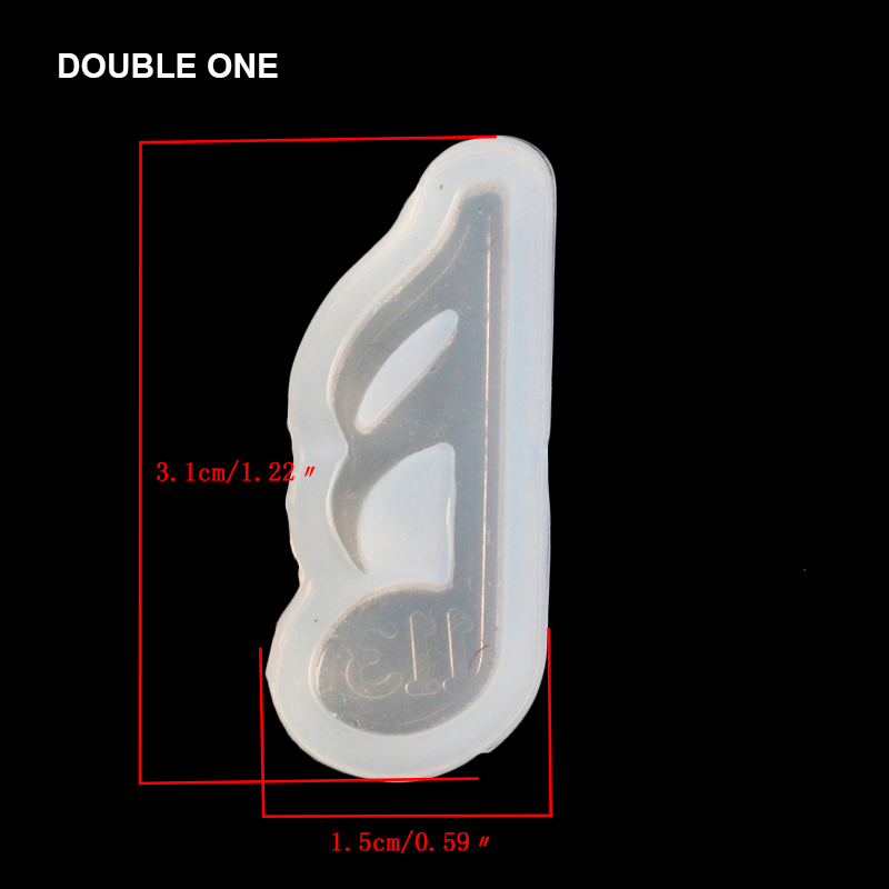 Double One DIY Musical Silicone Mold Jewerly Wedding Decoration Tools for Jewelry Beads Pendant Making 4pcs/set White