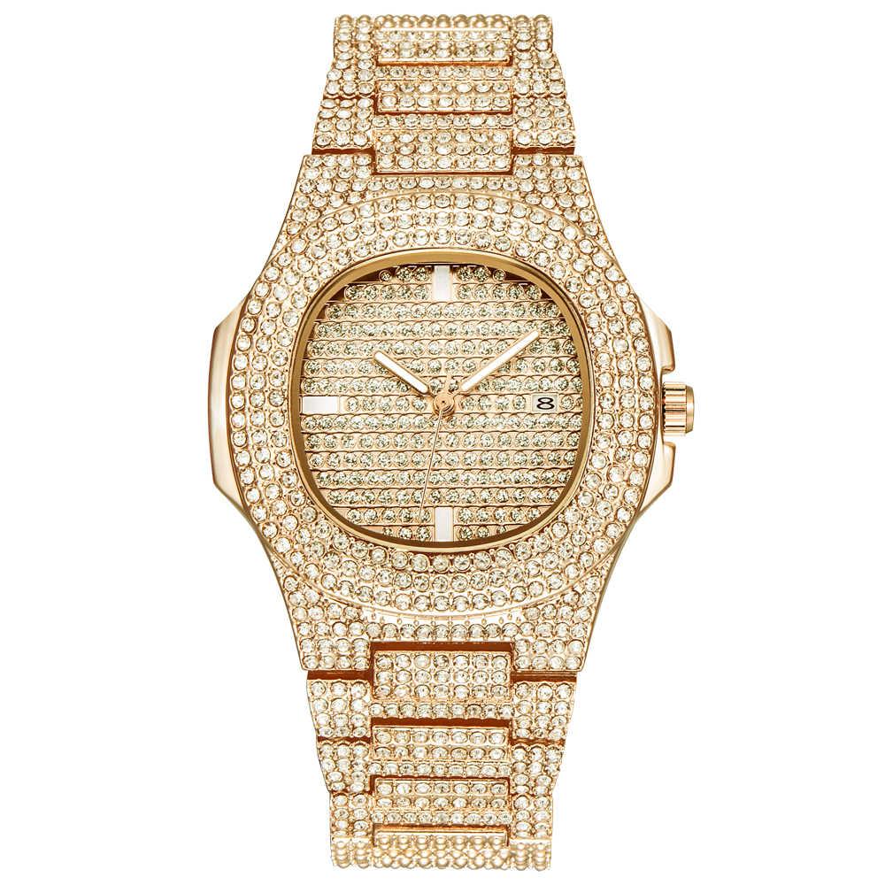 c6c5cb4a84 Gold Watches Mens Top Brand Luxury Stainless Steel Rhinestone Casual  Dourado Date Quartz Wrist Watch Relogio Masculino Ouro 2018