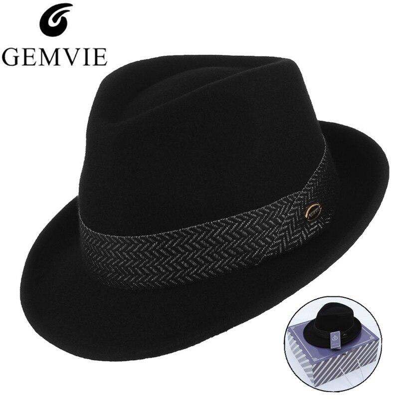 Мужская кепка из 100% шерсти, Классическая Кепка с узкими полями и лентой, регулируемая, в коробке Мужские фетровые шляпы      АлиЭкспресс