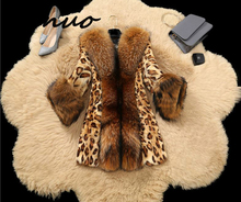 Genuo Womens Autumn Winter Faux fur Jackets Leopard Mink Coats Raccoon Fur collar Plus size jackets OKXGNZ 1256