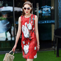 Red Mini Dresses Victoria Beckham Gooses Print 2017 Summer High Quality Charming Slim Fast Shipping Cute