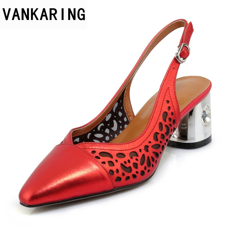 цена на VANKARING genuine leather new fashion women sandals high heels round toe red gun color shoes woman dress party casual sandals