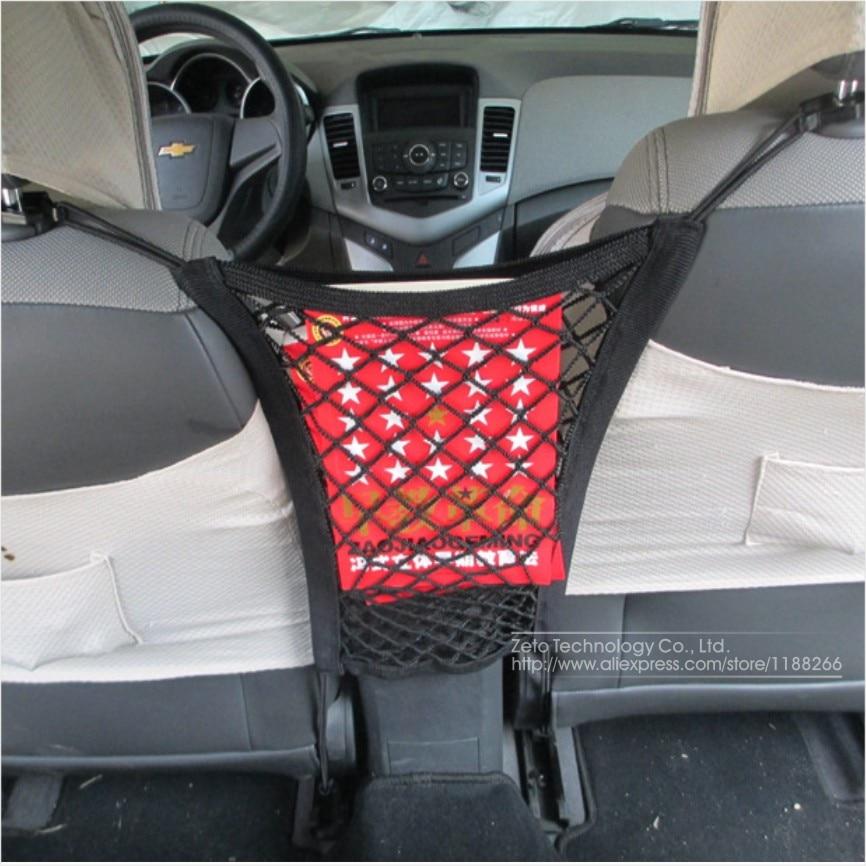 2015 Universal Fashion Double Layer Black Car Seat Storage Net Pocket Organizer Safety Seat Storage Net Bag Car Accessories