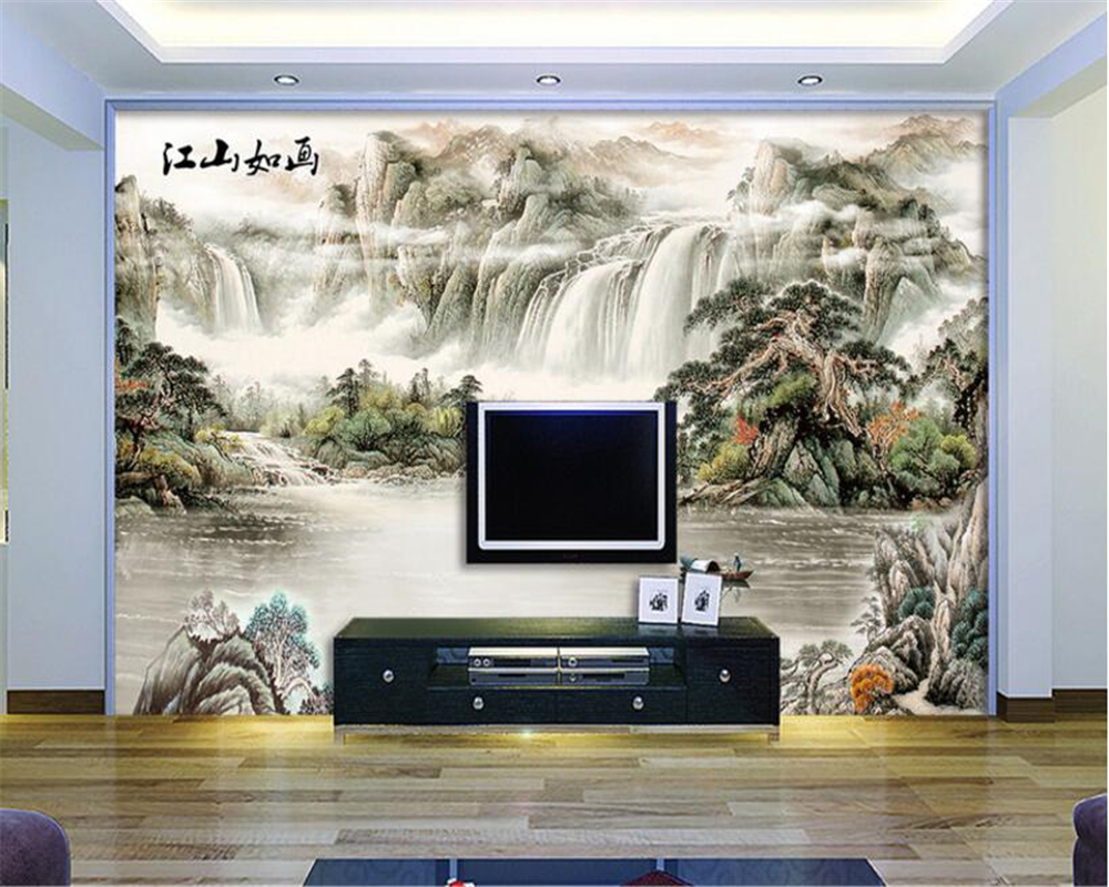 beibehang Custom 3D Photo Wallpaper Chinese Ink landscape Mural 3D Living Room Bedroom Background Wallpaper 3d wall murals shinehome black white cartoon car frames photo wallpaper 3d for kids room roll livingroom background murals rolls wall paper