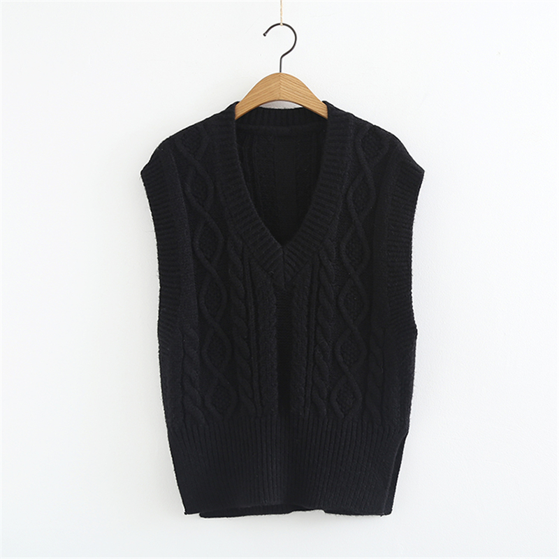 US $14.36 52% OFF|Women Knitted Sweater Vest Spring New Plus Size Sleeveless Coat Autumn Loose Black V neck Pullover Women Sweater Coat