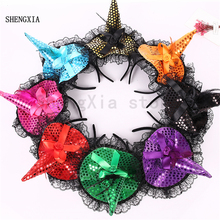Halloween sequins hat witch headband holiday masquerade bow hair accessories