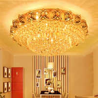 LED Crystal Ceiling Lights Fixture Modern Gold Ceiling Lamps Warm white Neutral White Cold White 3 Colors changeable Controller