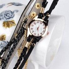 2016 New Hot Sale 1  Leather Strap Braided winding Rivet Bracelet Women Watches Wristwatch Wholesale Free Shipping
