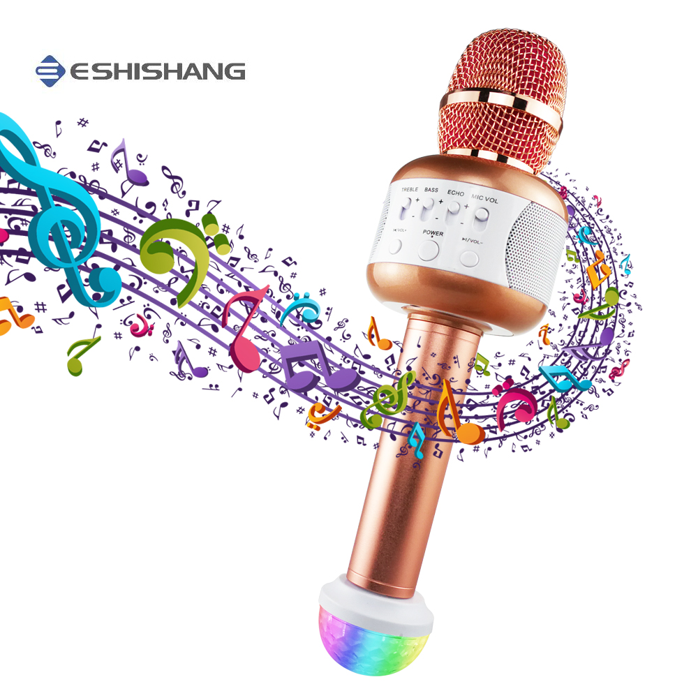 Bluetooth Microphone Professional Wireless Karaoke Microphone With Speaker Handheld Mic Condenser For Party KTV Singing professional tripod fold holder dynamic wired studio microphone stand floor condenser mic clip for wireless karaoke system stage