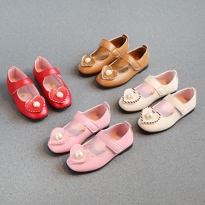 2018 childrens leather shoes new spring girls Student performance princess shoes Hook & Loop love dance peas shoes for girls