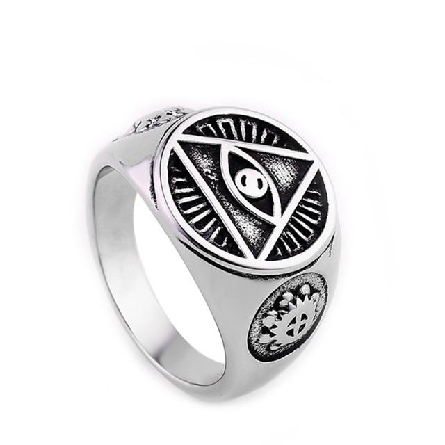 Black Illuminati Pyramid Eye Ring In Gold Or Silver