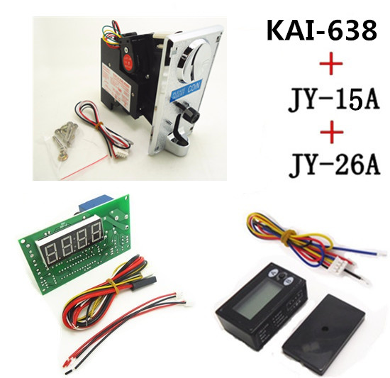 KAI-638+15A+26A Plastic front plate CPU coin acceptor selector with 4 digits timer board and reset counter
