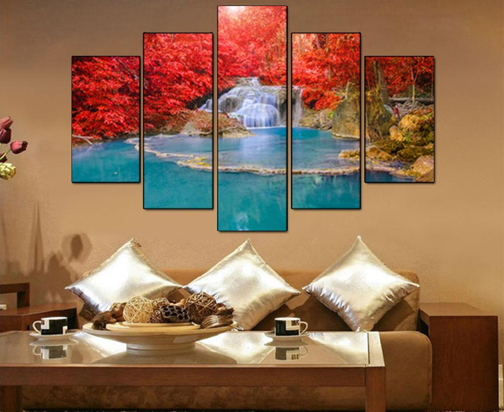 5 Panel Wall Art Canvas Landscape Lukisan Merah Maple Leaf Forest - Dekorasi rumah - Foto 4