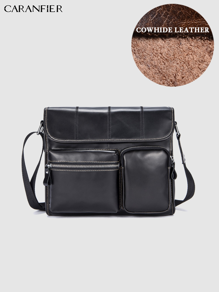 CARANFIER Mens Briefcases Solid Shoulder Bags Business Genuine Cowhide Leather Large Capacity Simple Flap Pocket Crossbody Bags