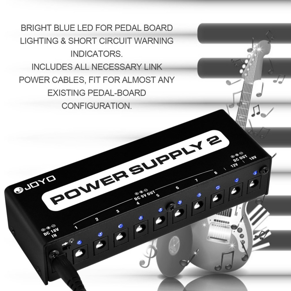 JOYO JP-02 Power Supply 2 Guitar Pedal Device With 10 Isolated Outputs & 3 Power Options Guitar Effect Pedals Power Station Hot aaa аккумулятор hama universal 87055 2 шт 1000мaч