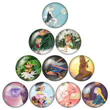 YANHONG Princess Anna and Elsa Dora Kitty's Earrings 16mm 10 sets of circular photo glass show flat back production found(China)