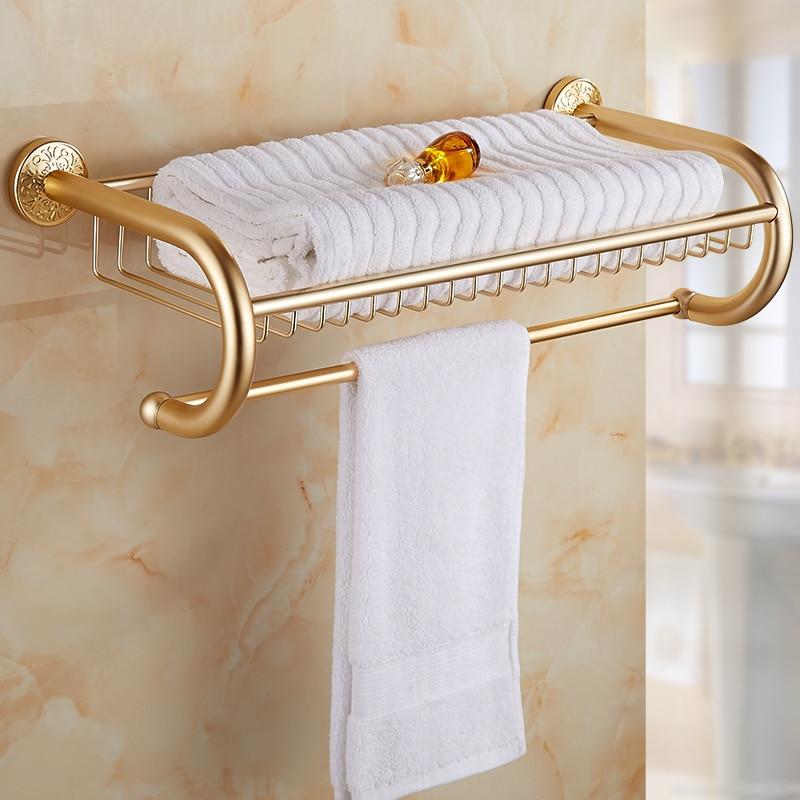 Hotel 60CM Space Aluminum bathroom shelves towel holder, Antique shelf towel rack double storage rack with towel bar gold/white