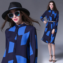 Women Print Loose Dress With Belt Plus Size Polo Collar Blue Blocked Fashion Clothing Button Front European High-end Shirt Dress