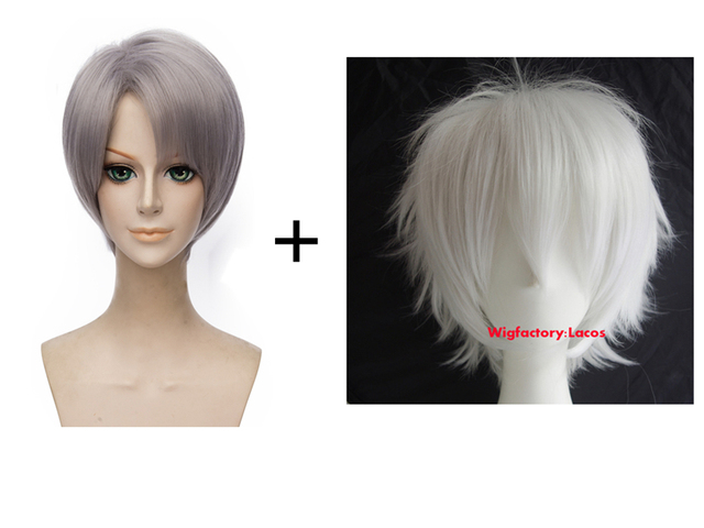 Yuri!!! On Ice Victor Nikiforov Cosplay +Death Note Near Synthetic Silver White Cosplay Wigs