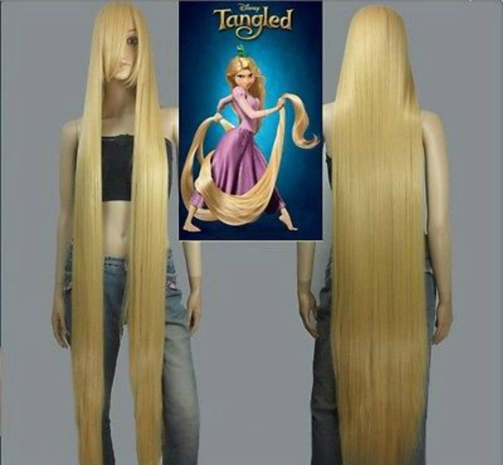 HOT! Movie Tangled Rapunzel Long Blonde Cosplay Straight Wig Hair 150cm fluffy straight synthetic handsome medium side bang capless blonde mixed wig for men