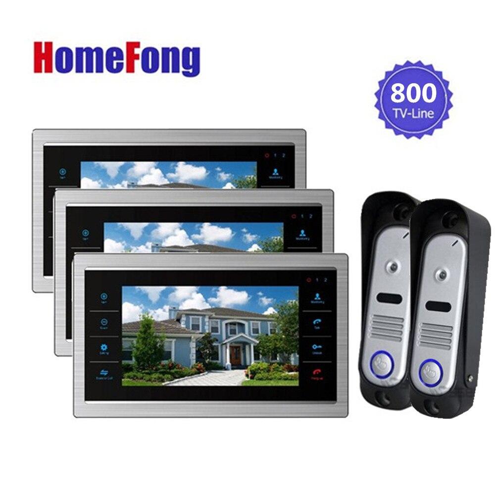 Homefong Video Doorphones Intercom System 2 Camera and 7 Inch 3 Monitor 800TVL HD Recordable Door Viewer Doorbell стоимость