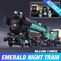 LEPIN 21005 Creator series the Emerald Night model building blocks set Classic compatible Steam trains Toys Christmas Gift