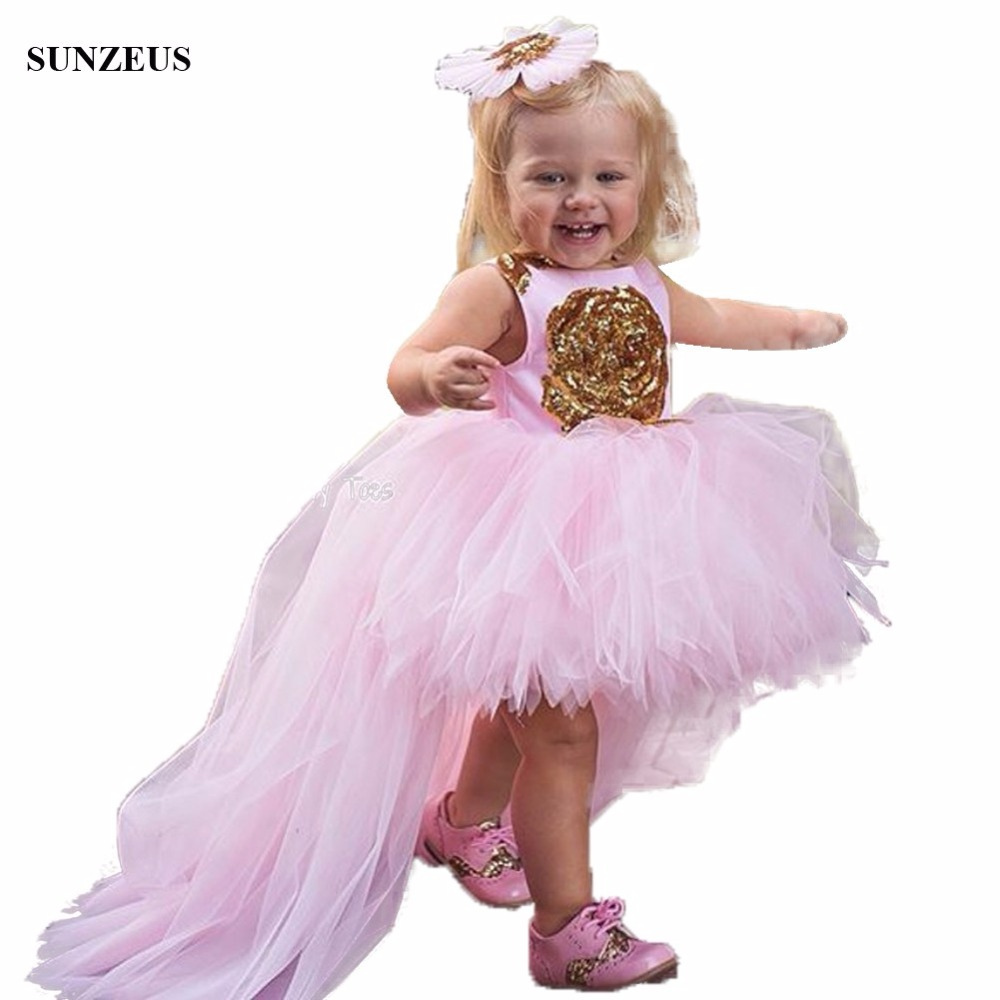 Short Front Long Back Pink Flower Girls Dresses High Low Tulle Kids Party Gowns With Gold Flowers Birthday Dress FLG005