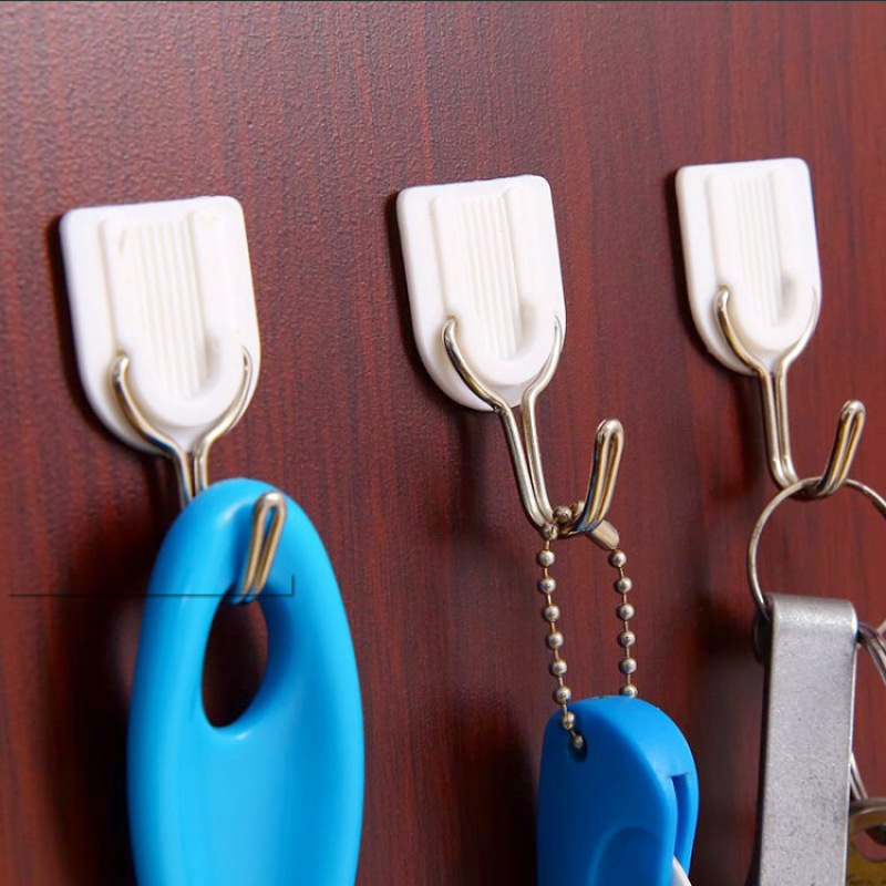1/5/10pcs Creative White Plastic Strong Adhesive Hook Super Strong Load-free Punching Seamless Wall Hook