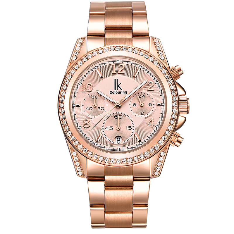 IK colouring Luxury Rose Gold Watch Women Quartz Watches Full Steel Rhinestone Fashion Waterproof Lady Dress Wristwatch relogio lvpai fashion brand women watch rhinestone gold full steel quartz wristwatch girl lady women dress gift luxury fashion watches
