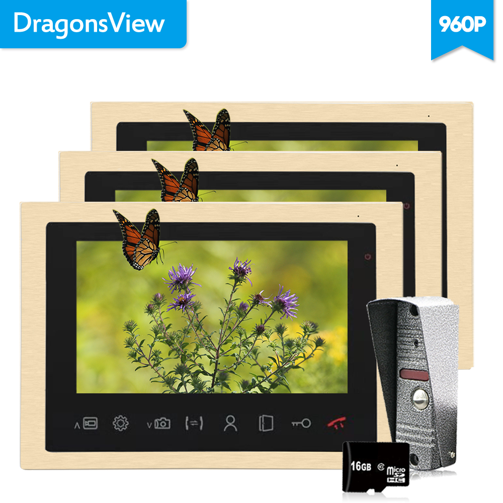 Dragonsview 10 Inch Door Phone Intercom System 960P Motion Detection Video Call  Intercom With Video Camera Digit Frame