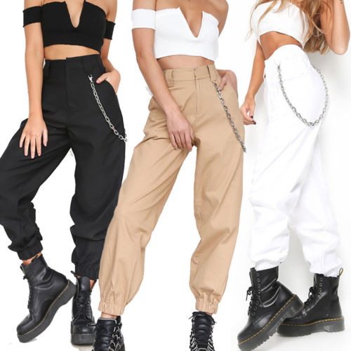 Summer Fashion Womens Pants Loose Causal Trousers Costume Combat Cargo High Waist Harem Hip Hop Pants 2 Colors Dropshipping Hot