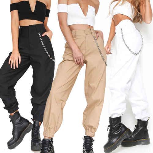 Летние модные женские штаны, Свободные повседневные брюки, костюм для боевых грузов, штаны-шаровары с высокой талией в стиле хип-хоп, 2 вида цветов, Прямая поставка, хит продаж