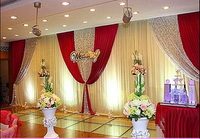wholesale and retail 3x6m white and red wedding backdrop curtain with swag wedding drapes , wedding stage backdrop