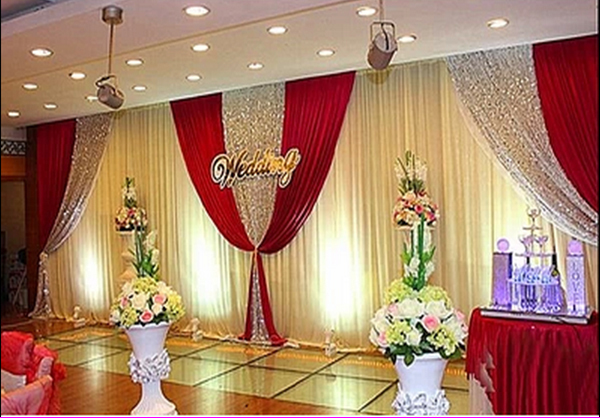 wholesale and retail 3x6m white and red wedding backdrop