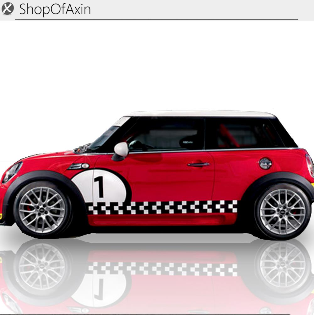 Number Customize Checkerboard Graphics Sticker For Mini Cooper clubman countryman hardtop R50 R53 R55 R56 R60 R61 F55 F56 цены