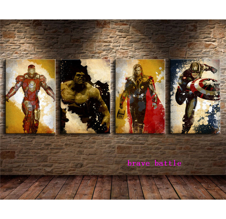 The Avengers 4 Pieces Canvas Painting Print Living Room Home Decor Modern Wall Art Oil