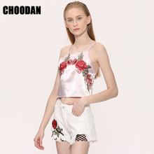 FREE SHIPPING !! Rose Embroidery Crop Tops Satin Camisole Tank Top JKP760